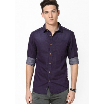 Taanz Solid Purple Casual Shirt